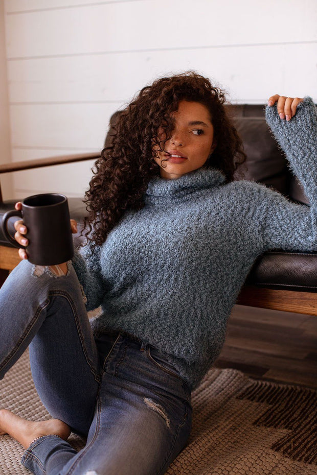 Love Me Madly Teal Fuzzy Knit Turtleneck Sweater