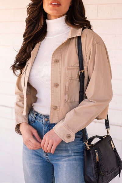 Khaki Cropped Jacket