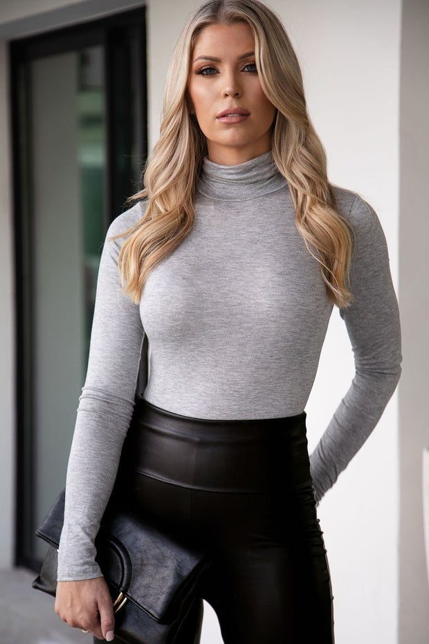 Heather Grey Turtleneck Bodysuit