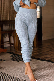 Happy Life Blue Cable Knit Lounge Pants