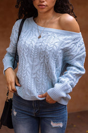 Happy Life Blue Cable Knit Sweater