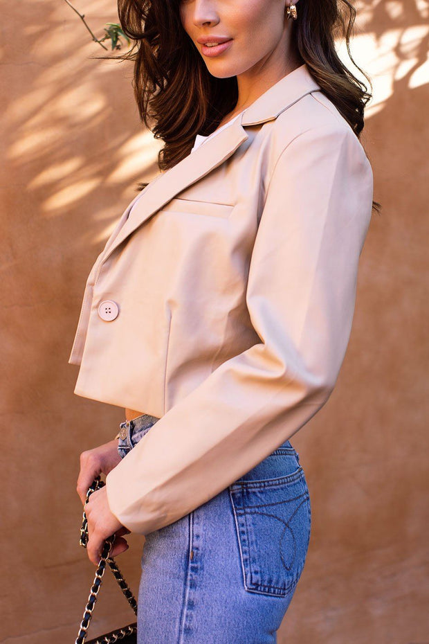 Happy Together Beige Vegan Leather Blazer
