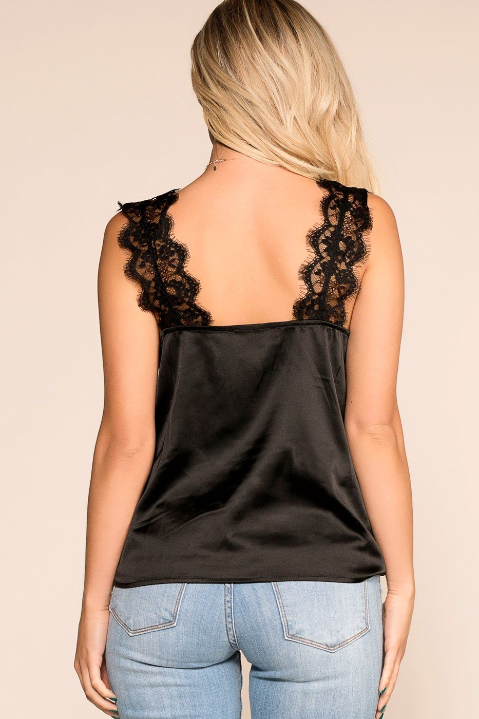 Priceless | Black | Lace Satin Cami | Womens