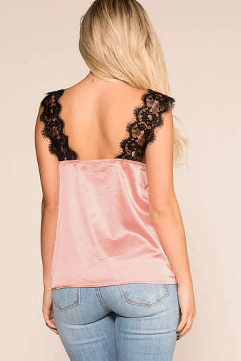 Priceless | Mauve | Lace Satin Cami | Womens