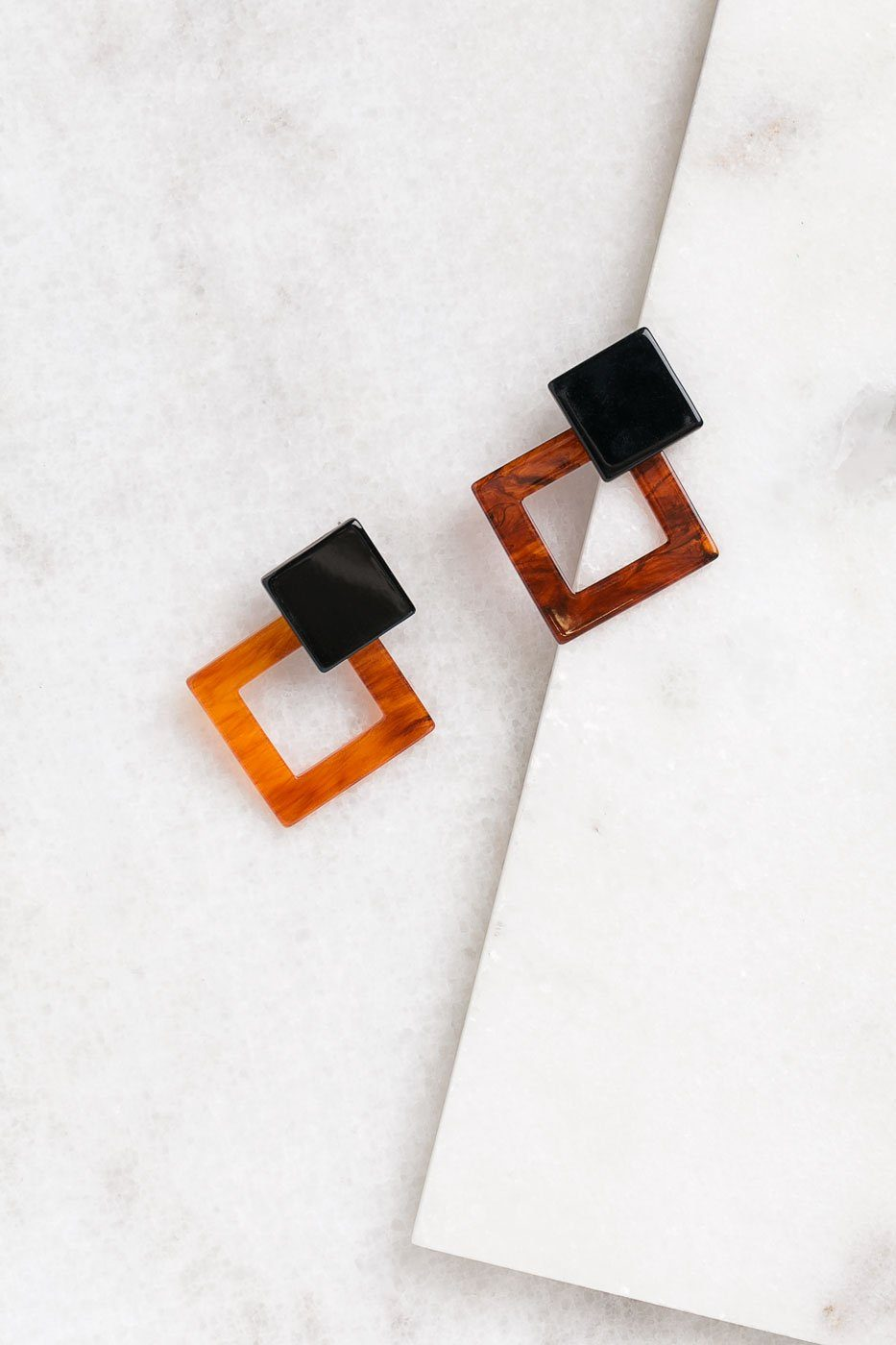 Black and Brown Marbled Square Earrings