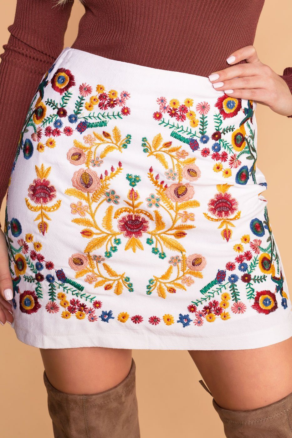 White Embroidered Mini Skirt