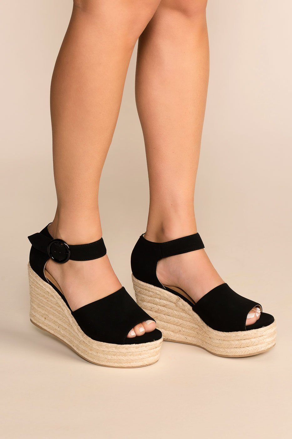 9a63f1e0945 Head In The Clouds Black Wedges