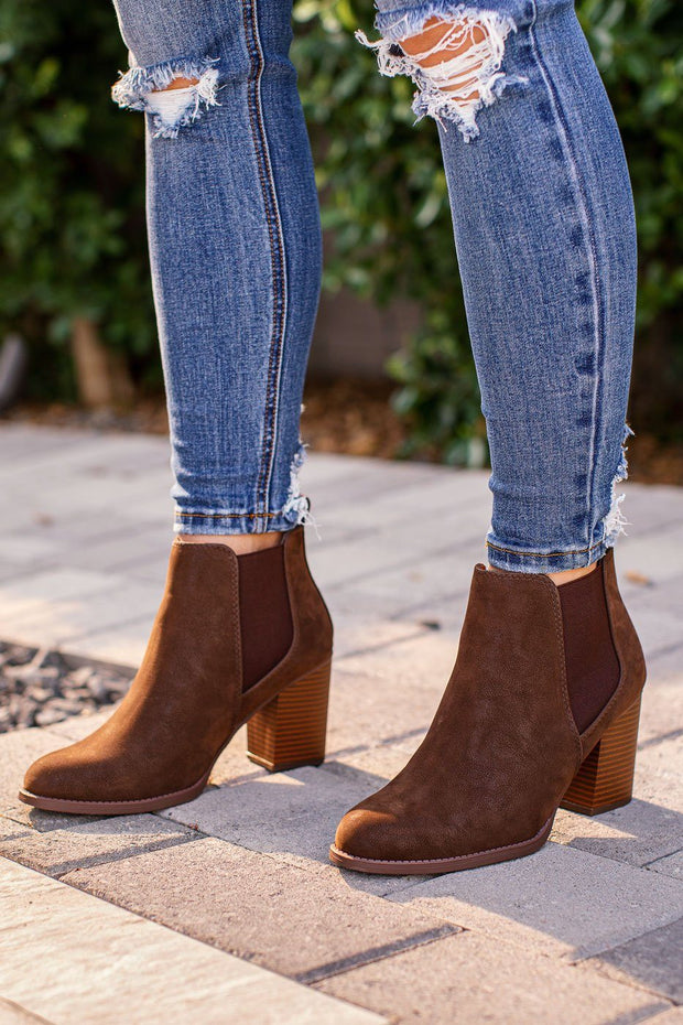 Chocolate Block Heel Booties