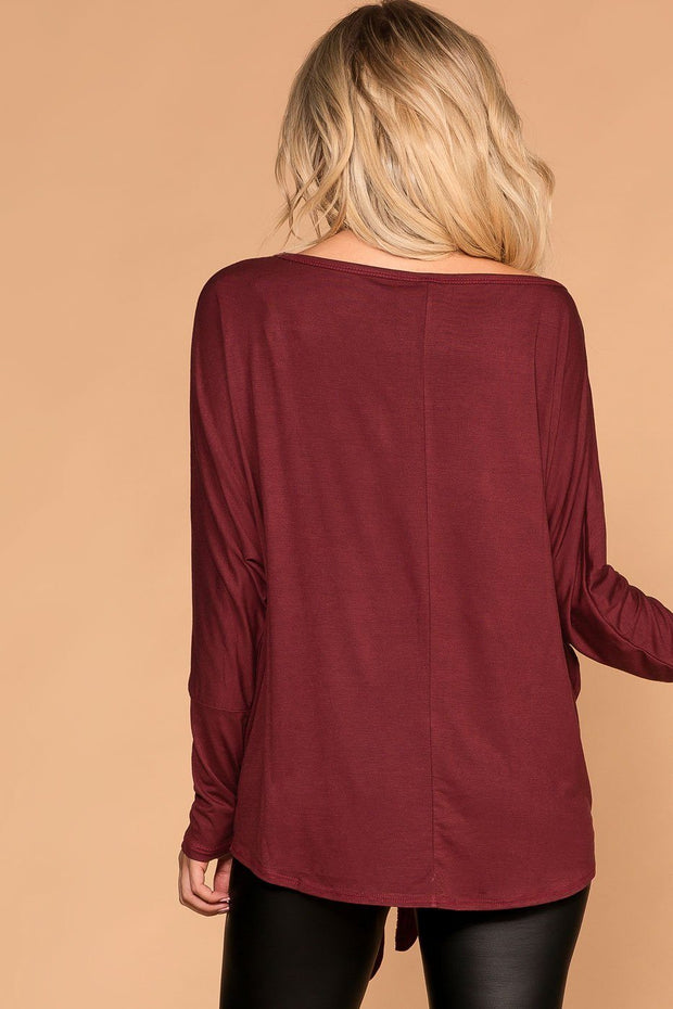 Gold Burgundy Tie-Front Sequin Pocket Top