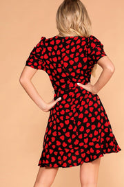 Red Heart Patterned Ruffle Wrap Dress