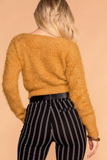 Mustard Fuzzy Button-Up Cardigan Top