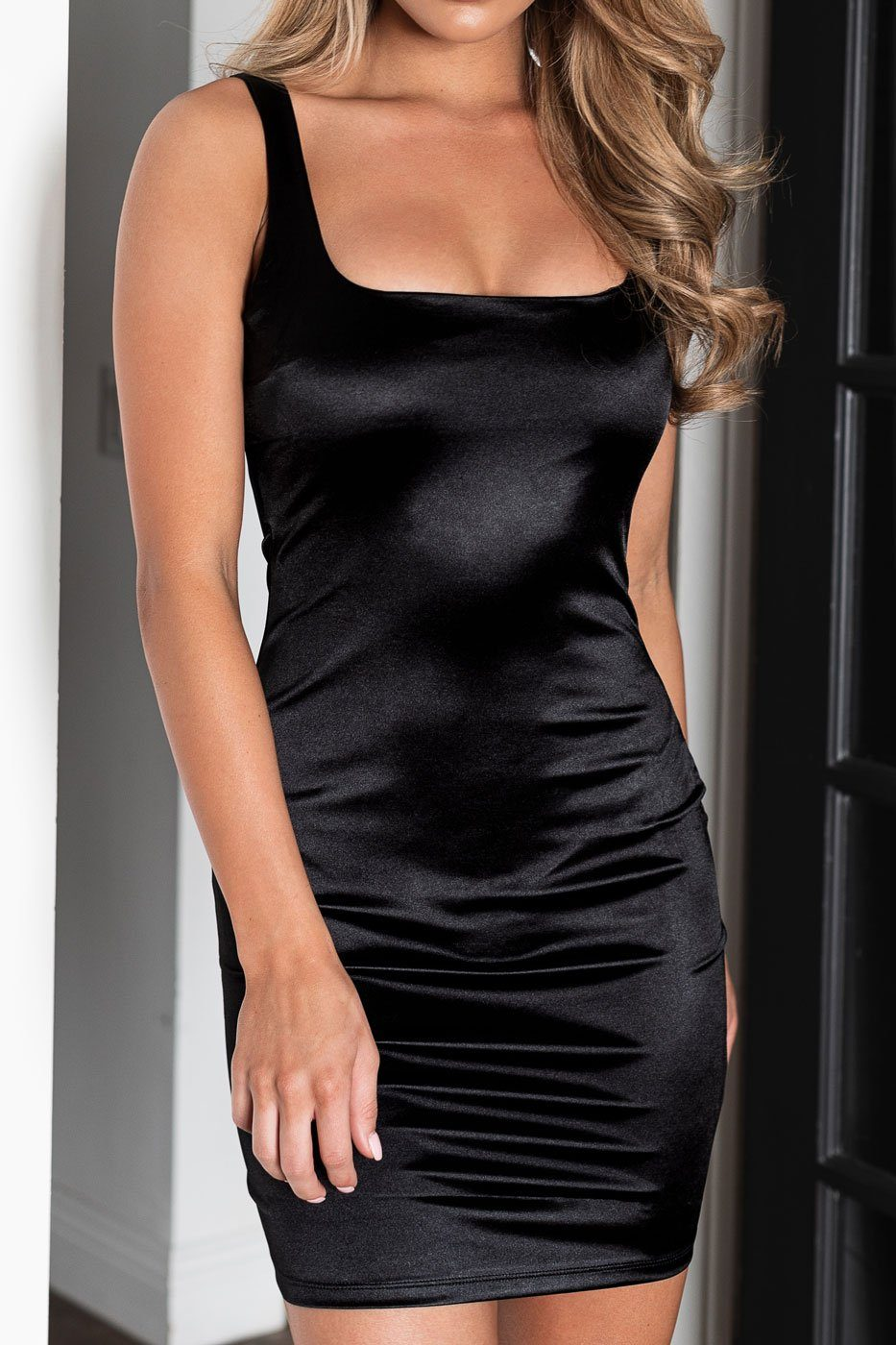 Black Satin Bodycon Dress