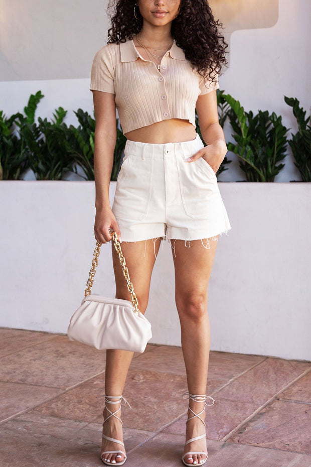 Beige Ribbed Button Up Crop Top