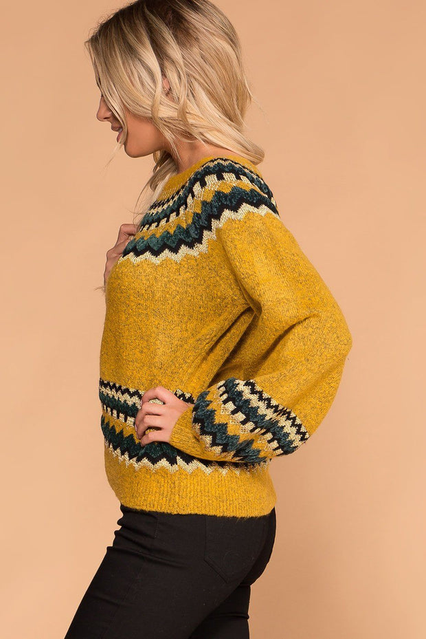 Mustard Chevron Knit Sweater