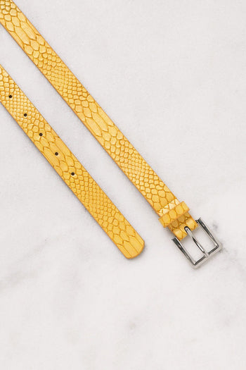 Thin Mustard Belt with Silver Clasp