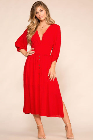 Must Be Love Red Dotted Button-Up Midi Dress