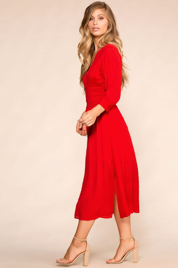 Red Swiss Dot Midi Dress