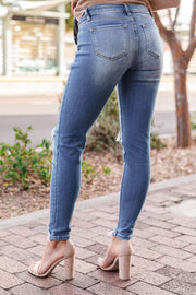 Here And There Distressed Medium Wash Skinny Jeans