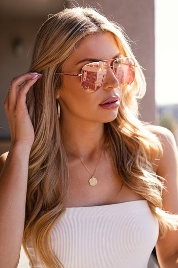 Rose Mirrored Aviator Sunglasses