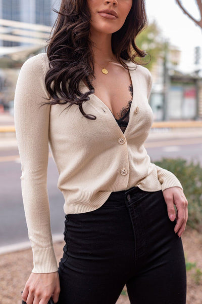 Beige Cardigan Top