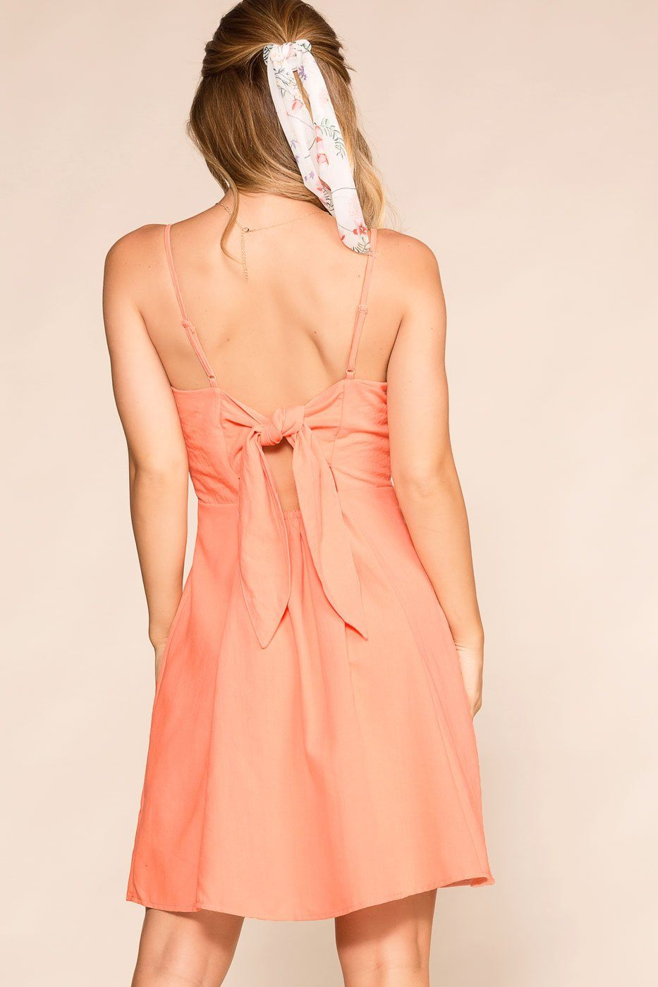 Peach Buttoned Pocket Dress