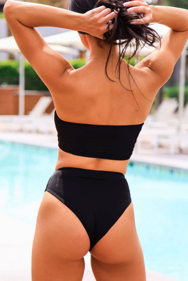 High Tide Black Bandeau Swimsuit Top