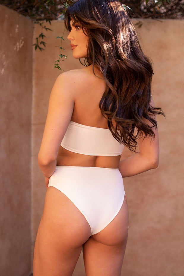 High Tide White Bandeau Swimsuit Top