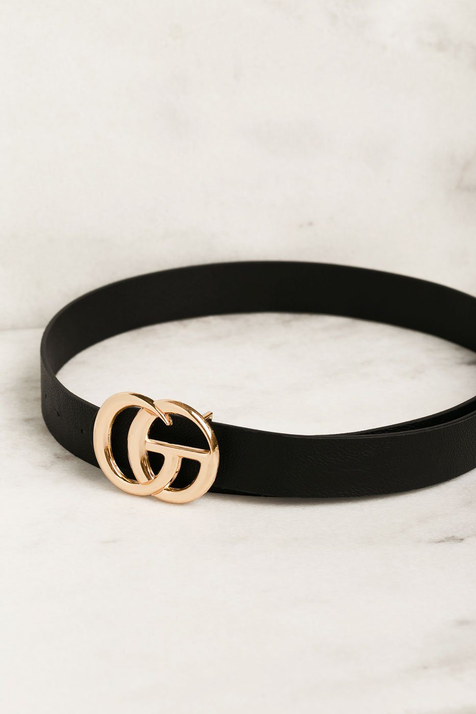 Black Belt with Gold Medallion Clasp