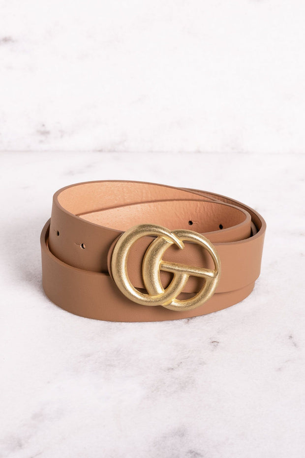 Highlight Dark Taupe Matte Gold Belt