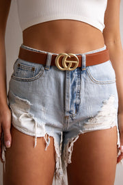 Tan Matte Gold Belt