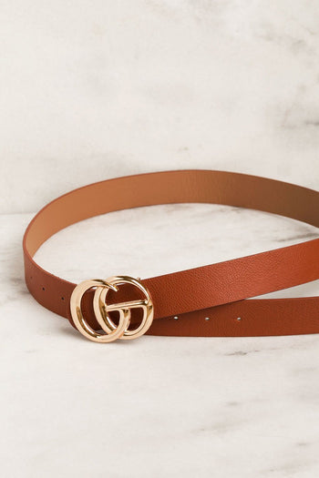 Tan Belt with Gold Medallion Clasp