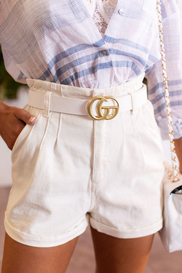 White Matte Gold Belt