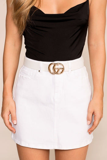 White Belt with Gold Medallion Clasp