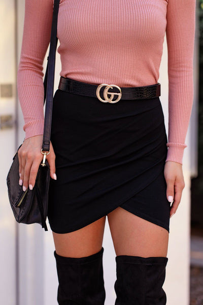 Hilton Black Wrap Mini Skirt