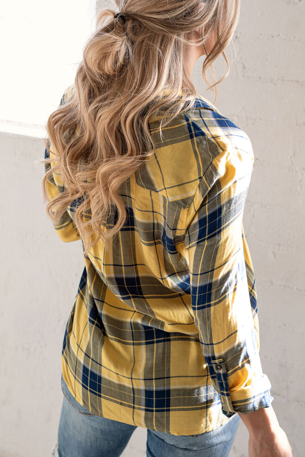 Hit Refresh Mustard Plaid Top