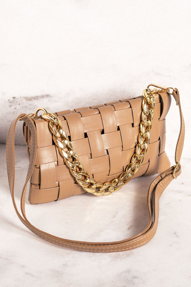 Hold Me Close Woven Khaki Clutch
