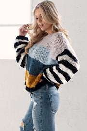 Blue Colorblock Oversize Knit Sweater