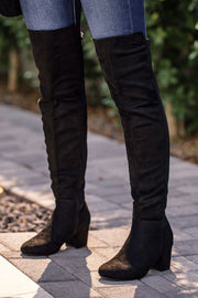 Black Over the Knee Block Heel Boots