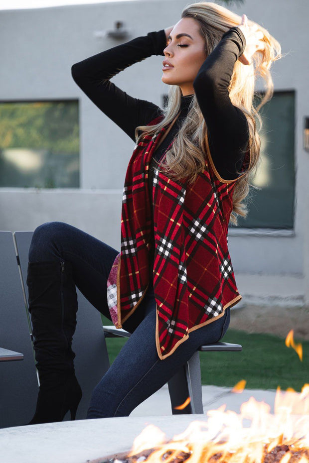 Campfire Burgundy Plaid Vest