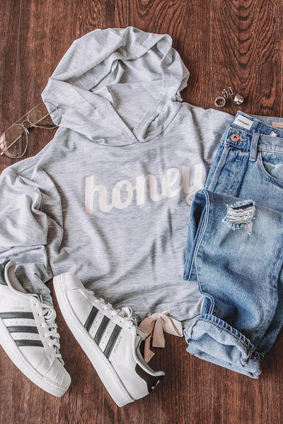 Honey Please Grey Crop Sweatshirt
