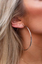 Hoop There It Is Silver Hoop Earrings