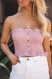 Hope Mauve Buttoned Crop Top | Shop Iris Basic