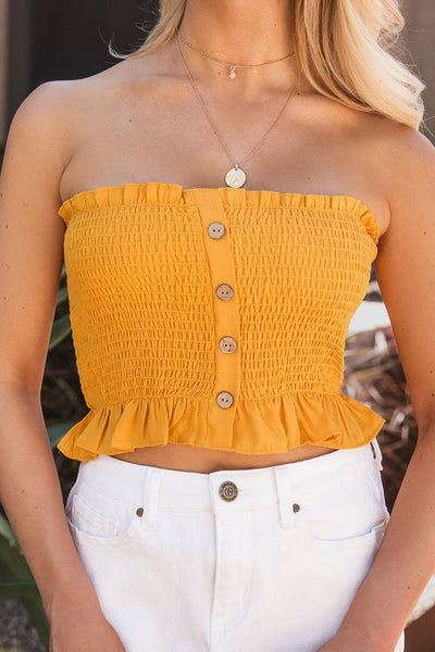 Hope Mustard Buttoned Crop Top | Shop Iris Basic