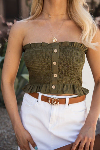 Hope Olive Buttoned Crop Top | Shop Iris Basic