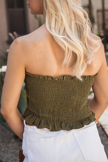 Olive Buttoned Crop Top Bandeau