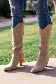 Taupe Vegan Suede Cowboy Boots