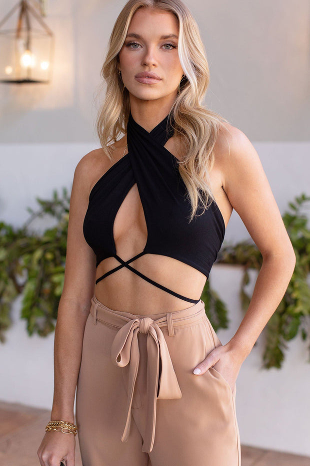 Hot Tropic Black Wrap Top