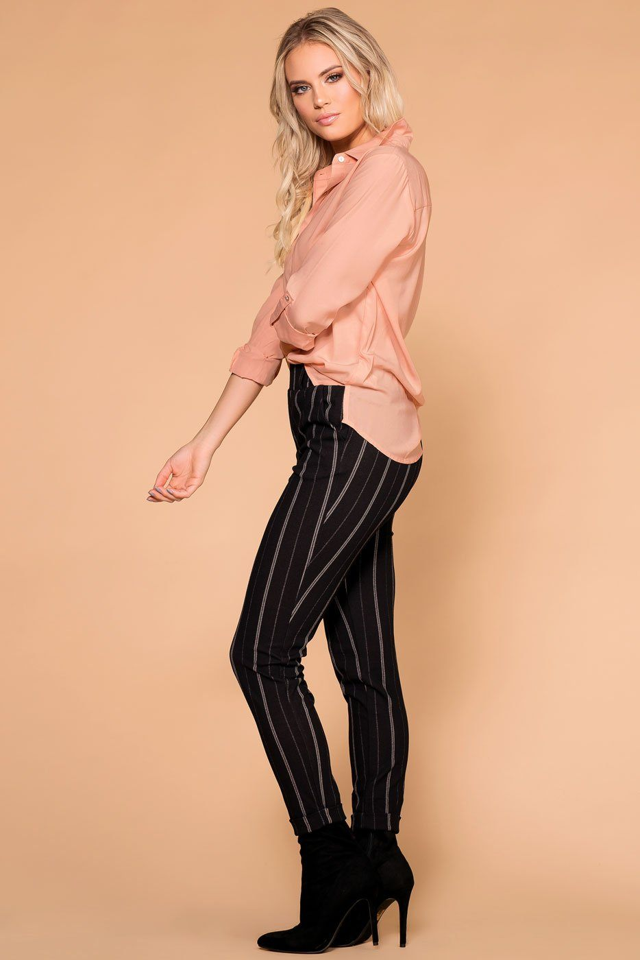 Priceless | Black Striped Pants | Trouser Pants | Womens