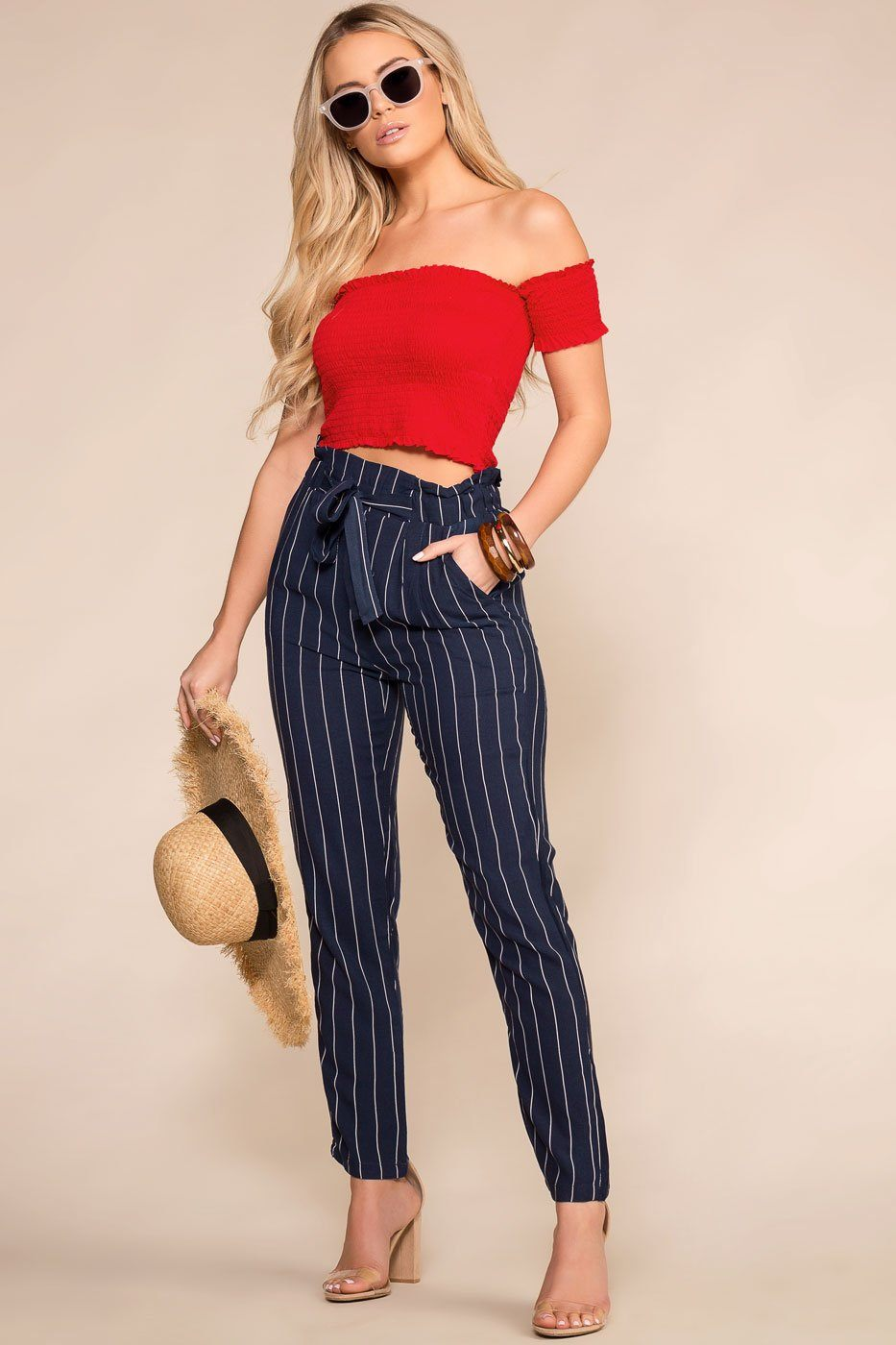 0f10e73c0da Hyde Navy and White Striped Paperbag Pants