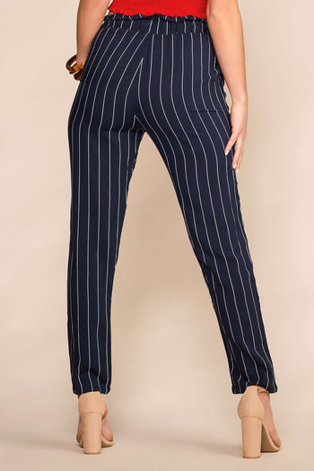 Hyde Navy and White Striped Paperbag Pants | Ambiance